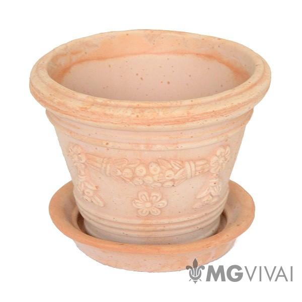 Vaso Di Coccio.Vaso Di Terracotta Tondo Con Decorazioni