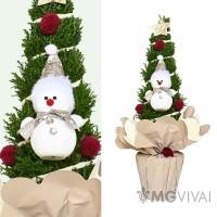 Albero di Natale vero con decorazioni Pupazzo di Neve- Grande